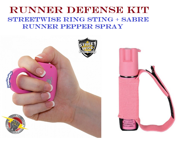 PINK Jogger Defense Kit - Streetwise Sting Ring + Sabre Runner Pepper Spray GEL