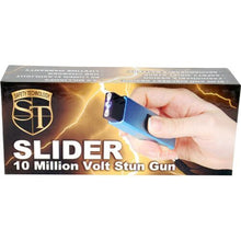 Slider 10,000,000 Volt 4.9 Milliamps Stun Gun With LED Flashlight - Blue