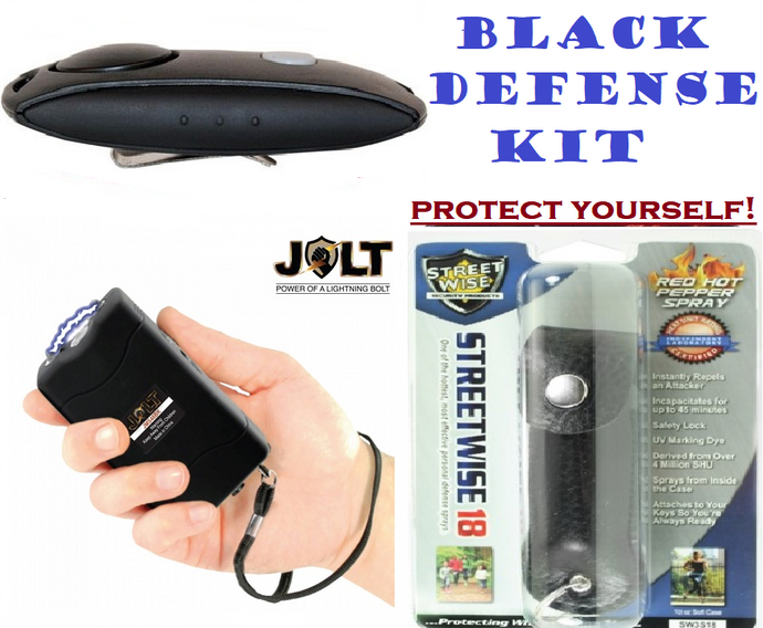 Personal Defense Kit 56,000,000 Jolt Stun Gun + Panic Alarm + Pepper Spray