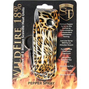 Wildfire 1/2oz 18% Quick Release Key Ring Pepper Spray Leopard Black/Orange