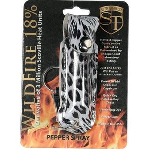 Wildfire 1/2oz 18% Quick Release Key Ring Pepper Spray Leopard Black/White