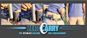 Zero Carry IWB Ambidextrous Holster For All Calibers Revolver Or Auto .32 & Up