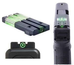 Meprolight ML-63105G Fiber Tritium Bullseye Rear Sight, Fits Glock MOS - GREEN