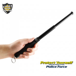 "Police Force12"" Expandable Steel Baton w/ Key Ring"