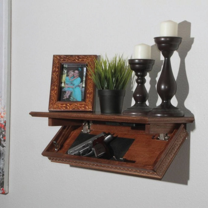 Quick Hidden Shelf Safe W/RFID Key Fast Access for Guns & Valuables - WALNUT