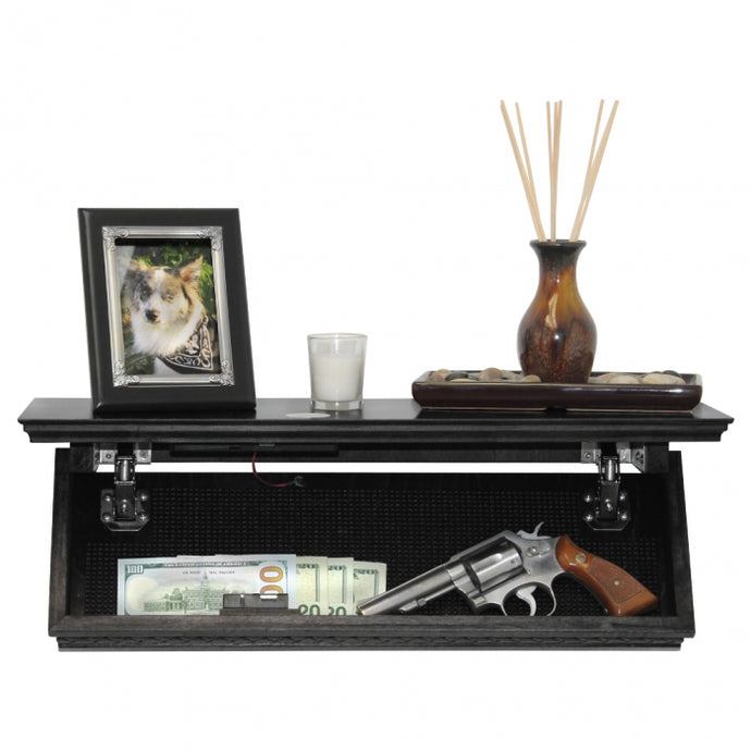 Quick Hidden Shelf Safe W/RFID Key Fast Access for Guns & Valuables - BLACK