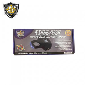 Streetwise Sting Ring 18,000,000 Stun Gun - BLACK w/KEY RING