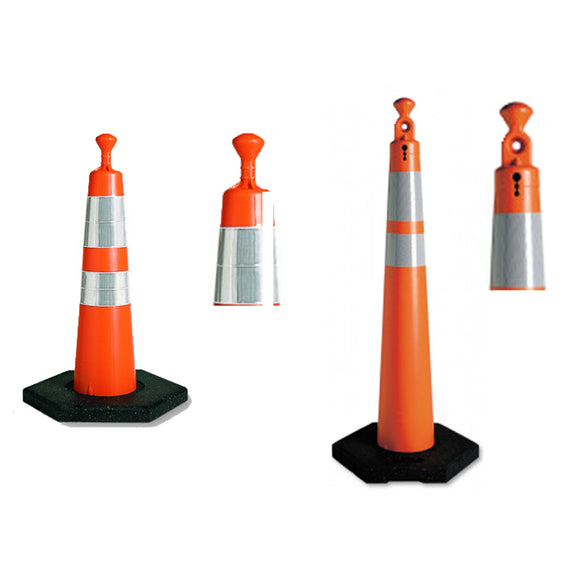 Grabber Safety Cones 28 in. (T) and 42 in. (T) with Two Collars and Rubber Base Image