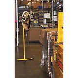 Convex Safety Mirror with Portable Stand In Use at Warehouse Image