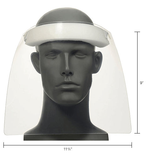 Disposable Face Shield Front View with Measurements Main Image