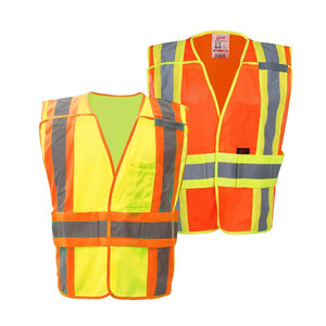 Expandable Breakaway Vest Standard Class 2 in Lime Green and Orange front View Image