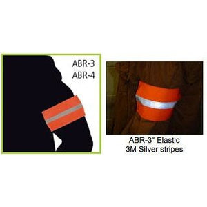 Fluorescent Orange Safety Arm Bands with 3M Scotchlite Reflective Stripe in 3 in. or 4 in. width