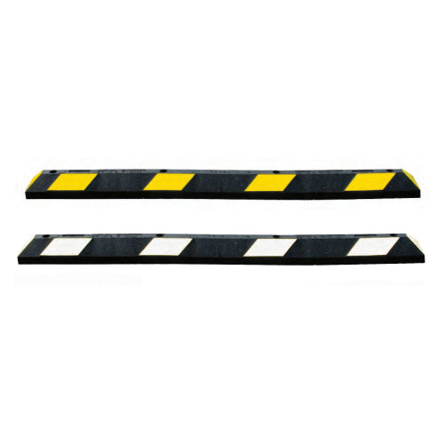 Garage Parking Blocks in Black and White and Black and Yellow Image