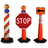 Grabber Traffic Safety Cones with Lights and Signs In Use Image
