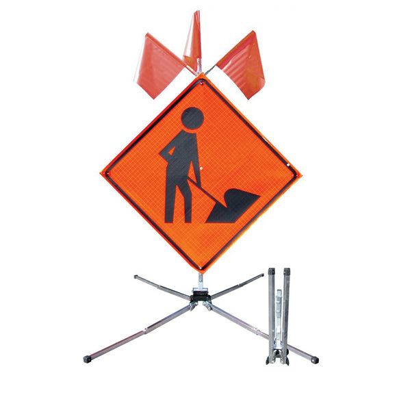 Guardian™ Safety Sign Stand - for 30 in.- 48 in. Roll-Up Sign Image with optional Flags