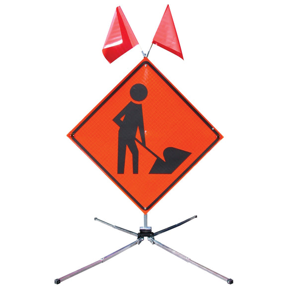Guardian™ Safety Sign Stand - for  48 in. - 5 ft. Roll-Up Sign Workman Image with optional Flags