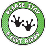 Kids Social Distancing Floor Sign Green with White Lettering and Black Frog Feet 17 in. diameter Main Image