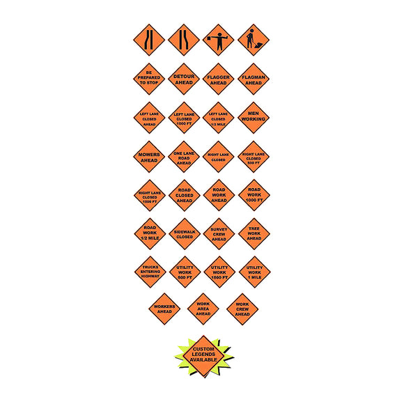 Mesh Roll-Up Signs in Safety Orange and Black Various and Custom Legends Image