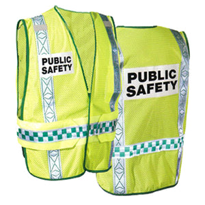 Public Safety Vests in Lime Green Front and Back Views Image