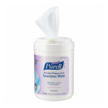Purell Alcohol Formulation Sanitizing Wipes in a Canister