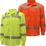 Rip Stop Lightweight Shirt Lime Green and Orange Class 3 Front View Image