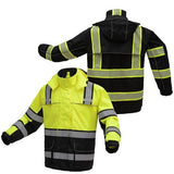 Rip Stop Rain Coat Onyx Class 3 With Teflon Coating in Black or Lime Green with Reflective Stripes Front and Back View Image