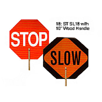 Safety Paddle Sign with 10 in. (L) Wooden Handle Stop/Slow Image