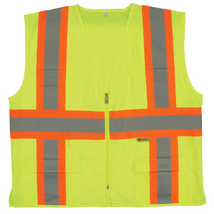 Safety Vest with Contrasting Stripes 2 in. wide Reflective Class 2 Lime Green Image
