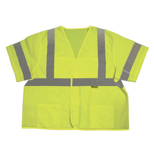 Safety Vest ith 2 in. (W) Silver Stripes Front Back and Sleeves Class 3 Lime Green Image