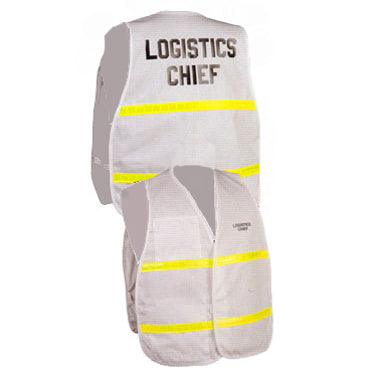 Series 3200 Incident Command Vest in White with Yellow Reflective Stripe Front and Back Views Image