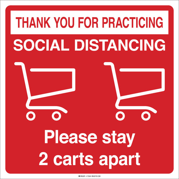 Social Distancing Floor Decal Please Stay Two Carts Apart White on Red Image Main