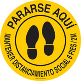 Social Distancing Floor Sign Round in Spanish Pararse Aqui Mantener Distanciamento Social 6 Pies/ 2M Yellow with Black Lettering Main Image
