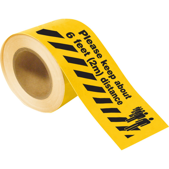 Social Distancing Floor Tape Roll Yellow with Black Lettering To Maintain Social Distance Please Stay 6 feet (2m) Away Image