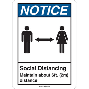 Social Distancing Sign with Male and Female Figures - Rectangular Portrait English Image
