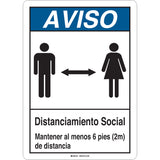 Social Distancing Sign with Male and Female Figures - Rectangular Portrait Spanish