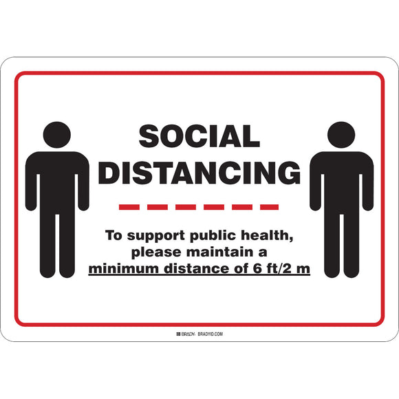 Social Distancing Rigid Sign with Male Figures English Main Imagej