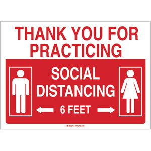 Social Distancing Sign with Male and Female Figures English Red White Detail Image
