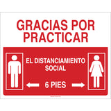 Social Distancing Sign with Male and Female Figures Spanish Red White Detail Image