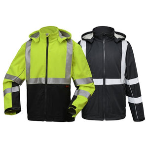 Softshell Sweatshirt With Black Bottom - Class 3 in Lime or Black Front View Image