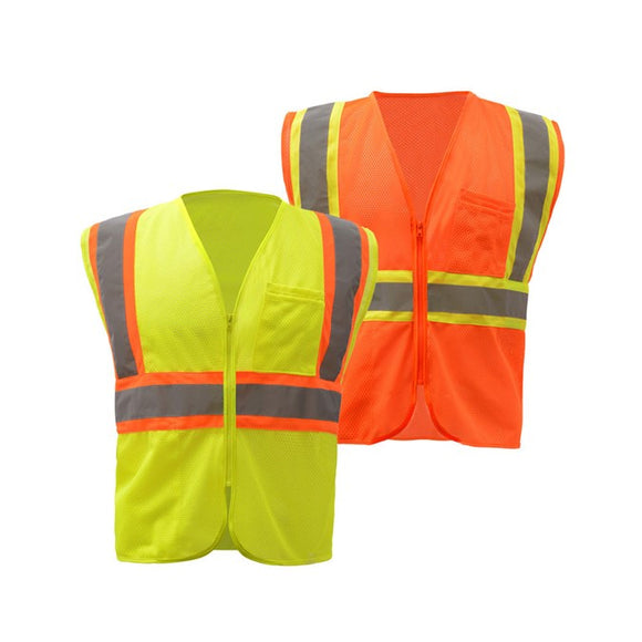 Two Tone Mesh Zipper Safety Vest - Standard Class 2 in Lime Green and Orange Front View Image