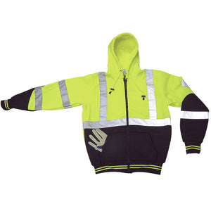 Sweatshirt Hoodie Lime Green Upper and Black Lower with 2 in. (W) Reflective Silver Stripes on Body and Sleeves Image