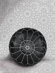 Premium Handmade Moroccan Leather Ottoman Pouf Black & White