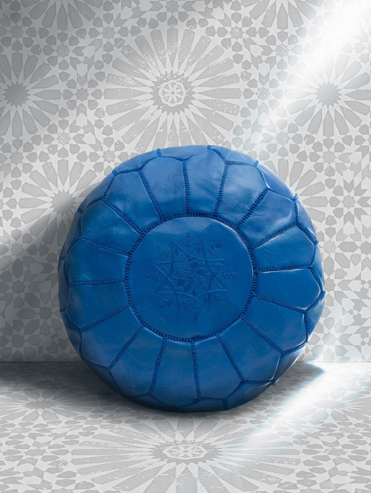 Premium Handmade Moroccan Leather Ottoman Pouf Bright Blue