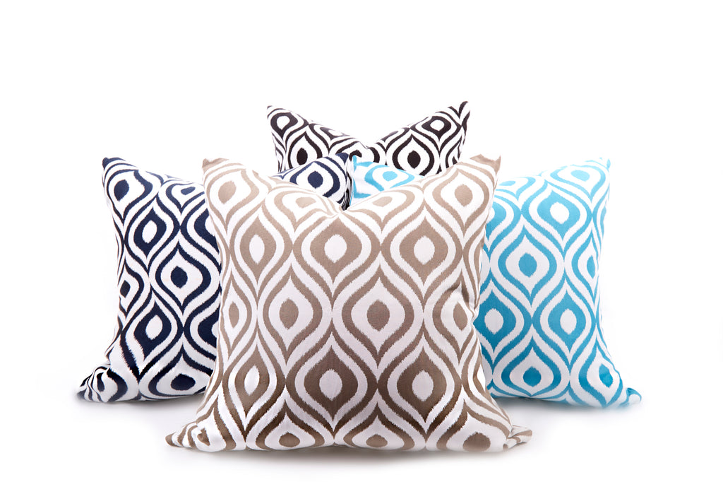 Blue Retro Outdoor Pillow