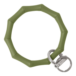 Bamboo Inspired Bangle & Babe Bracelet Key Ring Bamboo – Army Green Silver