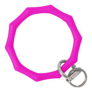 Bamboo Inspired Bangle & Babe Bracelet Key Ring Bamboo - Deep Neon Pink Silver