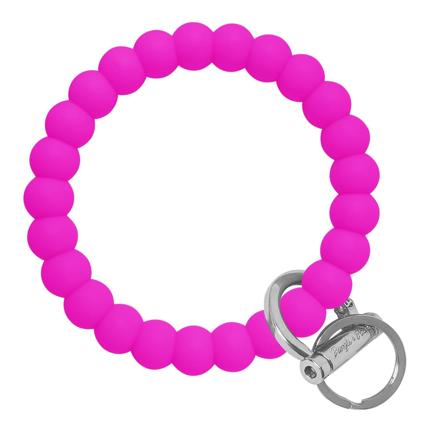 Bubble Inspired Bangle & Babe Bracelet Key Ring Bubble - Deep Neon Pink Silver