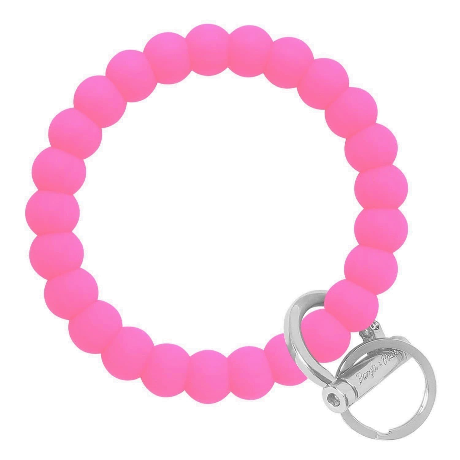 Bubble Inspired Bangle & Babe Bracelet Key Ring Bubble - Bright Pink Silver