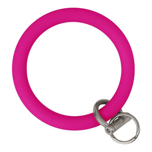 Original Bangle & Babe Bracelet Key Ring Deep Neon Pink Silver