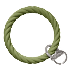 Twisted Bangle & Babe Bracelet Key Ring Twist - Army Green Silver